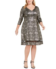 Plus Size A-Line Shimmer Dress