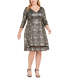 Robbie Bee Plus Size A-Line Shimmer Dress