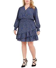 Plus Size Surplice Printed Smocked Dress