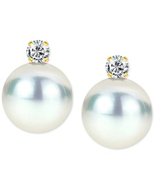 Cultured Freshwater Pearl (8mm) & Birthstone Stud Earrings in 14k Gold