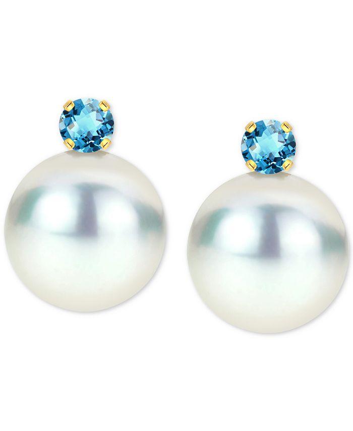 Macy's - Cultured Freshwater Pearl (8mm) & Birthstone Stud Earrings in 14k Gold