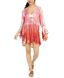Tie Dye Bell-Sleeve Cover-Up Dress