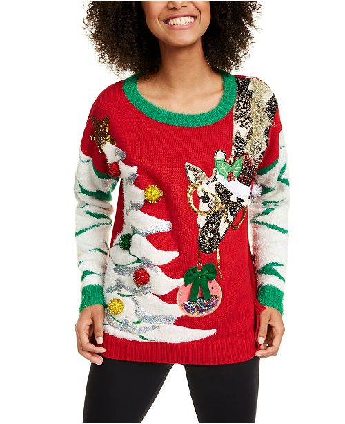 Hooked Up by IOT Juniors' Giraffe Christmas Sweater