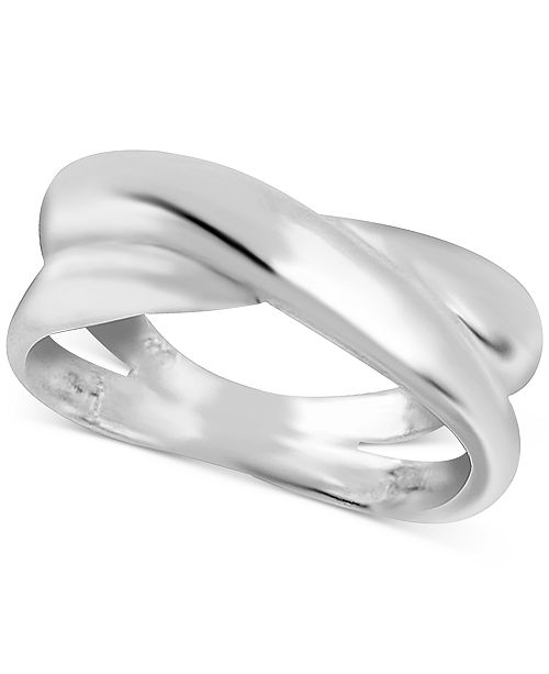 Essentials Overlap Statement Ring in Fine Silver-Plate