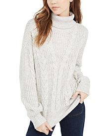 Crave Fame Juniors' Turtleneck Cable Knit Sweater