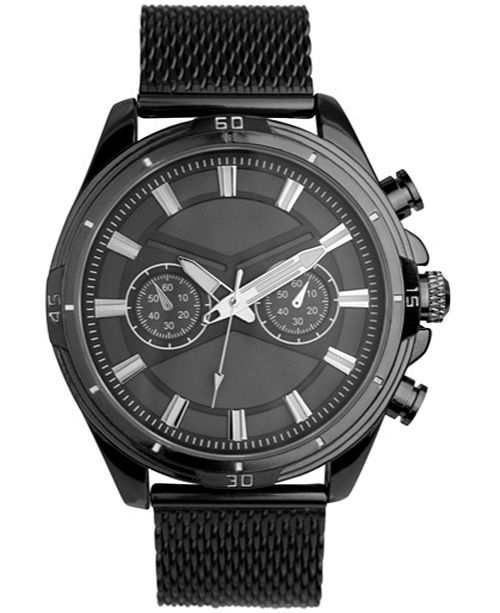 INC International Concepts INC Men's Black Mesh Bracelet Watch 49mm, Created For Macy's