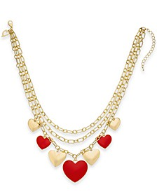 "Gold-Tone Heart Charm Layered Necklace, 17"" + 3"" extender, Created For Macy's"