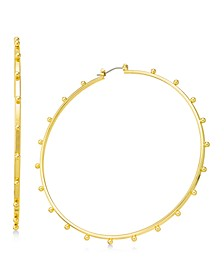 """Gold-Tone Extra-Large Studded Hoop Earrings, 3.5"""", Created For Macy's"""