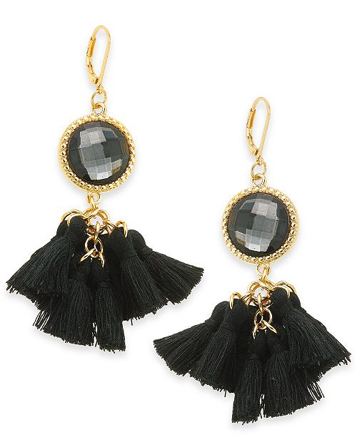 INC International Concepts INC Gold-Tone Stone & Tassel Drop Earrings, Created For Macy's