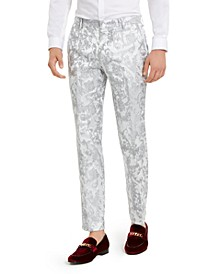 INC Men's Slim-Fit Embroidered Floral Jacquard Suit Pants, Created For Macy's