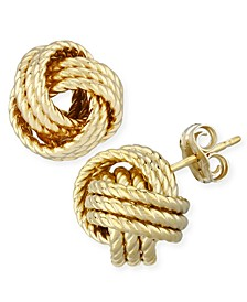 Rope Love Knot Stud Earrings in 14k Yellow or Rose Gold