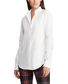 Ruffle-Trim Broadcloth Shirt