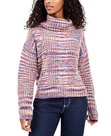Juniors' Metallic Turtleneck Sweater