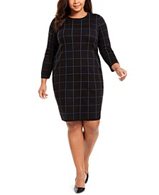 Plus Size Grid-Print Dress