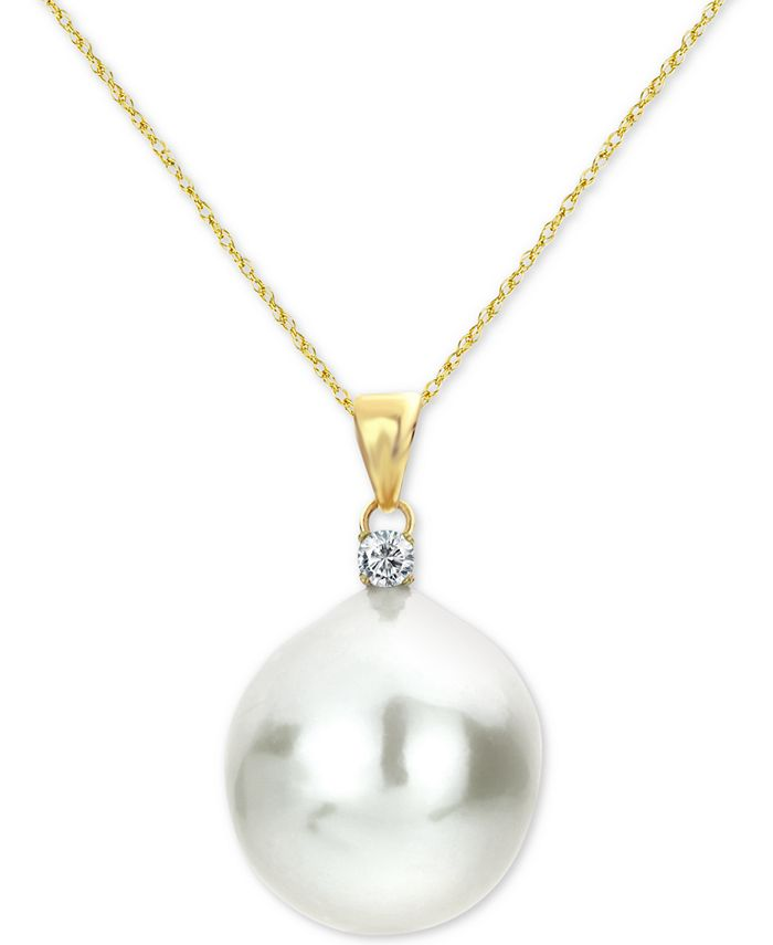 """Macy's - Cultured Baroque Freshwater Pearl (12mm) & Diamond (1/20 ct. t.w.) 18"""" Pendant Necklace in 14k Gold"""