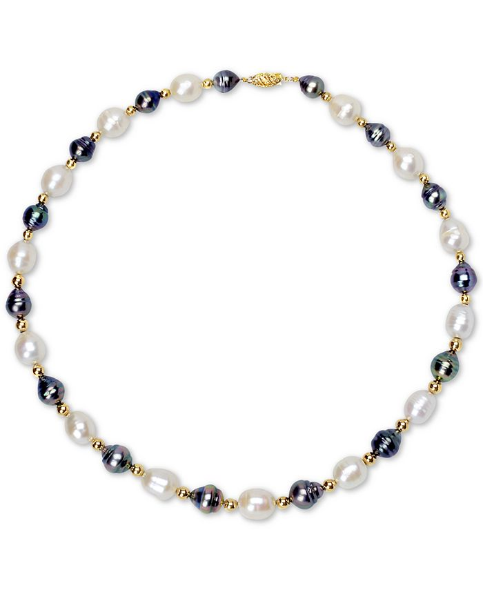 """Macy's - Cultured White Baroque Freshwater Pearl (10mm) & Cultured Baroque Tahitian Pearl (8mm) 18"""" Collar Necklace in 14k Gold"""