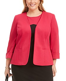 Plus Size Open-Front Cuffed Blazer