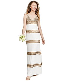 Embellished-Stripe Gown