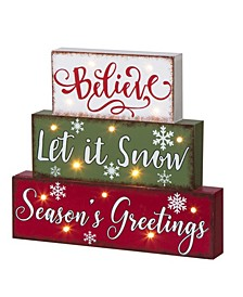 "11.81"" L Christmas Wooden LED Lighted Block Word Sign 10 Bulbs"