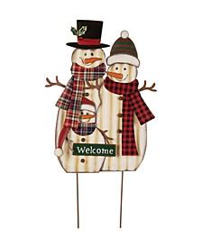 "29.92"" H Metal Christmas Snowman Family Yard Stake or Standing Decor or Hanging Decor"