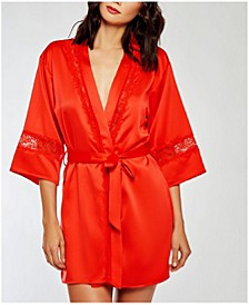 Satin Cut Out Laced Trimmed Lounge Robe