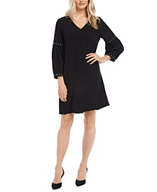 Studded-Sleeve Shift Dress