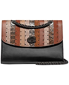 Coated Canvas Signature Exotic Patchwork Stripe Parker Shoulder Bag