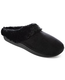 Women's Boxed Velour Slippers With Faux-Fur Trim