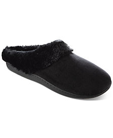Isotoner Signature Women's Boxed Velour Slippers With Faux-Fur Trim