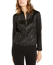 Snakeskin-Print Faux-Leather Jacket, Created For Macy's