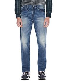 Men's Straight-Fit Stretch Paint-Splatter Jeans