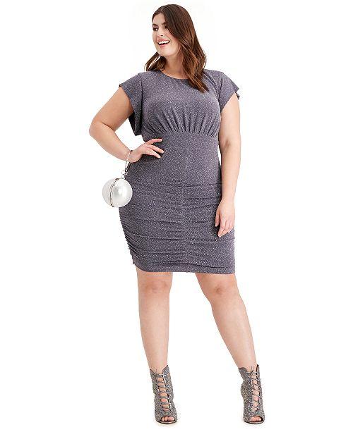 Plus Size Metallic Ruched Dress