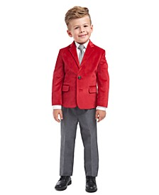 Toddler Boys Regular-Fit 4-Pc. Red Velvet Suit Set