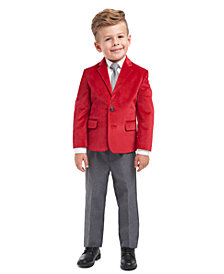 Nautica Little Boys Regular-Fit 4-Pc. Red Velvet Suit Set