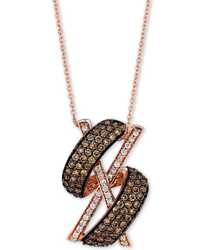 "Le Vian - Diamond X Swirl 18"" Pendant Necklace (1-1/10 ct. t.w.) in 14k Rose Gold"
