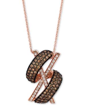 "Diamond X Swirl 18"" Pendant Necklace (1-1/10 ct. t.w.) in 14k Rose Gold"