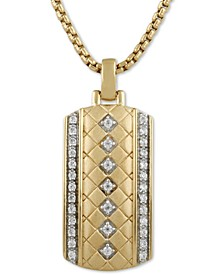 "Men's Diamond Dog Tag 22"" Pendant Necklace (1/3 ct. t.w.) in 18k Gold-Plated Sterling Silver"