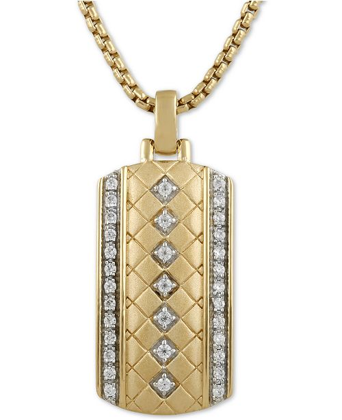 """Macy's Men's Diamond Dog Tag 22"""" Pendant Necklace (1/3 ct. t.w.) in 18k Gold-Plated Sterling Silver"""