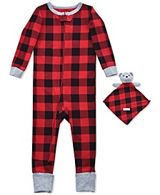 Baby Boys 2-Pc. Buffalo-Check Coverall Pajama & Bear Blankie Buddy Set