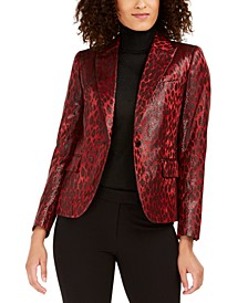 Shiny Animal-Print Blazer
