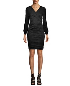 Fitted V-Neck Crepe Dress