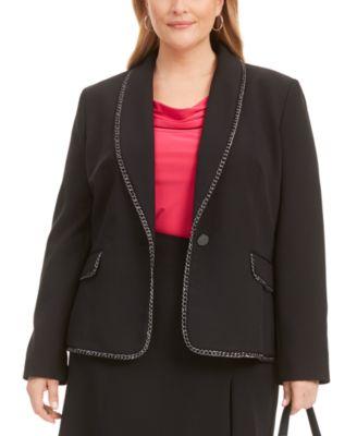 Plus Size Chain-Trim Shawl-Collar Single-Button Blazer