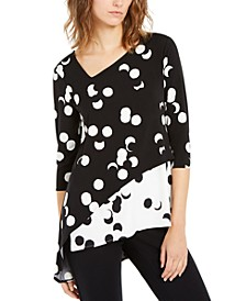 Printed Asymmetric 3/4-Sleeve Top, Created for Macy's