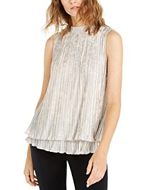 Pleated Metallic-Print Blouse, Created For Macy's