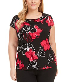 Plus Size Floral Cowlneck Top