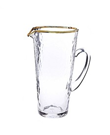 Pebble Glass Pitcher with Gold Tone Rim with Handle