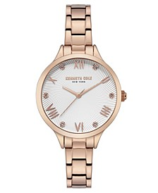Women's Rose Gold Stainless Steel Bracelet Watch, 34mm