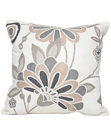 """Floral Crewel Emboridery Pillow Collection, 18"""" x 18"""""""