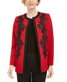 Lace-Trim Open-Front Jacket