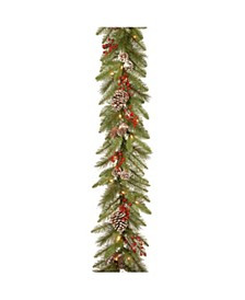 9 ft. Bristle Berry Pine Garland with Battery Operated LED Lights